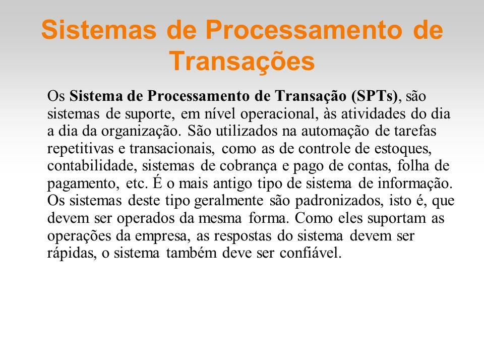 Sistemas de Processamento de Transações Os Sistema de Processamento de Transação (SPTs), são sistemas de suporte, em nível operacional, às atividades