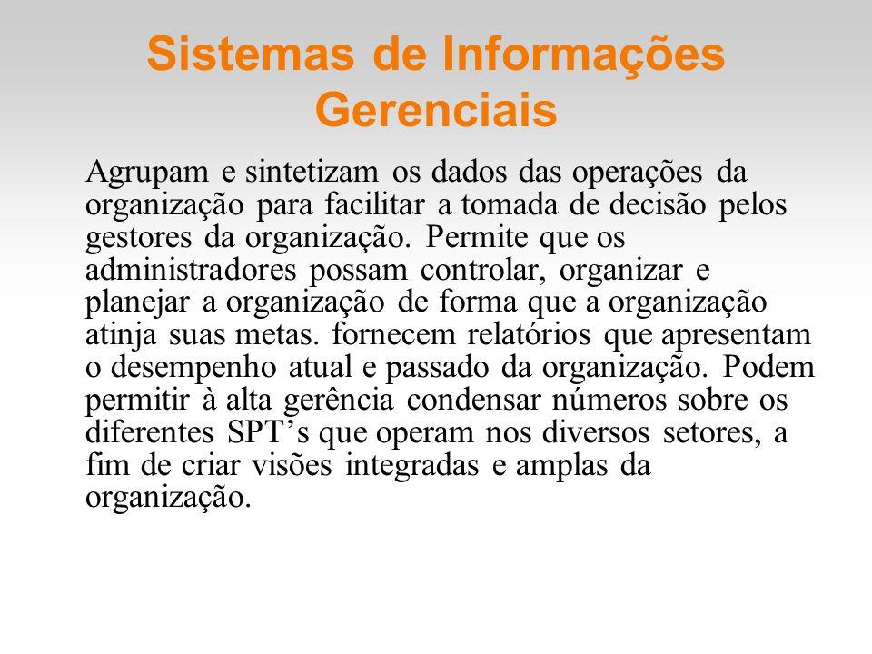 Sistemas de Informações Gerenciais Agrupam e sintetizam os dados das operações da organização para facilitar a tomada de decisão pelos gestores da org