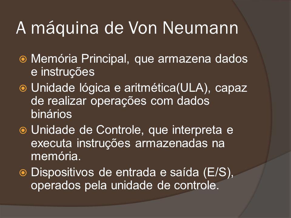 A máquina de Von Neumann Memória Principal, que armazena dados e instruções Unidade lógica e aritmética(ULA), capaz de realizar operações com dados bi