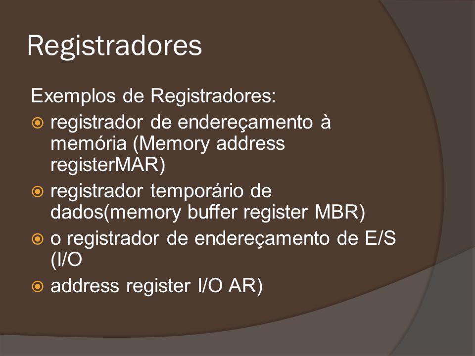 Registradores Exemplos de Registradores: registrador de endereçamento à memória (Memory address registerMAR) registrador temporário de dados(memory bu