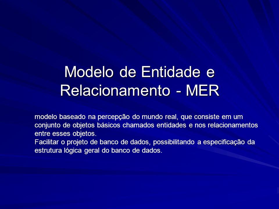 Modelo de Entidade e Relacionamento - MER modelo baseado na percepção do mundo real, que consiste em um conjunto de objetos básicos chamados entidades