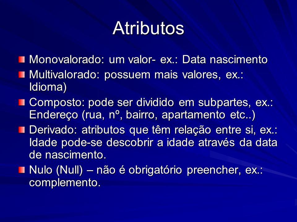 Atributos Monovalorado: um valor- ex.: Data nascimento Multivalorado: possuem mais valores, ex.: Idioma) Composto: pode ser dividido em subpartes, ex.