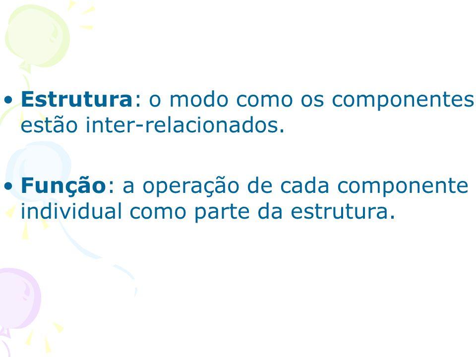 Estrutura: o modo como os componentes estão inter-relacionados. Função: a operação de cada componente individual como parte da estrutura.