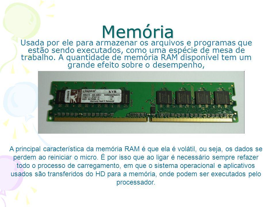 Memória Usada por ele para armazenar os arquivos e programas que estão sendo executados, como uma espécie de mesa de trabalho. A quantidade de memória