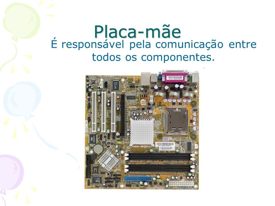Placa-mãe É responsável pela comunicação entre todos os componentes.