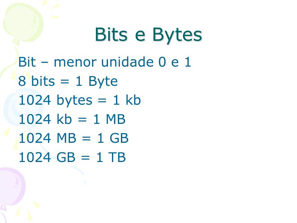 Bits e Bytes Bit – menor unidade 0 e 1 8 bits = 1 Byte 1024 bytes = 1 kb 1024 kb = 1 MB 1024 MB = 1 GB 1024 GB = 1 TB