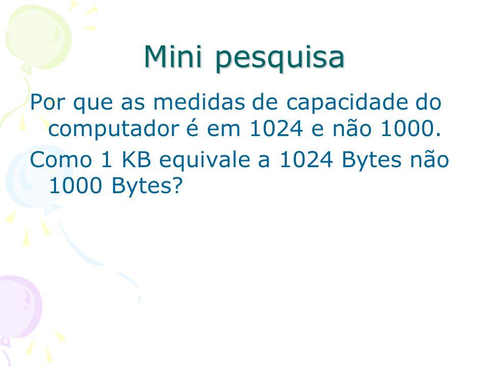 Mini pesquisa Por que as medidas de capacidade do computador é em 1024 e não 1000. Como 1 KB equivale a 1024 Bytes não 1000 Bytes?