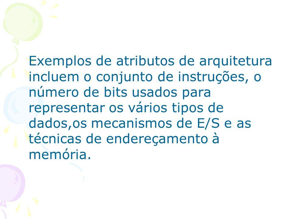 Exemplos de atributos de arquitetura incluem o conjunto de instruções, o número de bits usados para representar os vários tipos de dados,os mecanismos