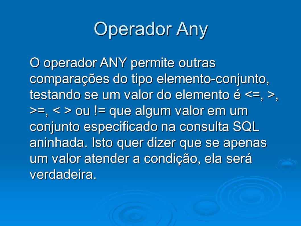 Operador Any O operador ANY permite outras comparações do tipo elemento-conjunto, testando se um valor do elemento é, >=, ou != que algum valor em um