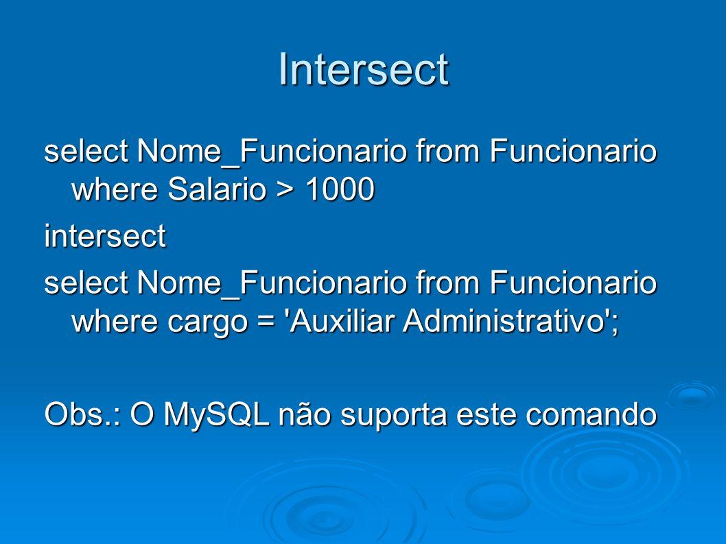 Intersect select Nome_Funcionario from Funcionario where Salario > 1000 intersect select Nome_Funcionario from Funcionario where cargo = 'Auxiliar Adm
