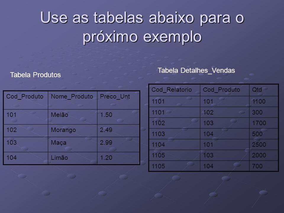 Use as tabelas abaixo para o próximo exemplo Cod_ProdutoNome_ProdutoPreco_Unt 101Melão1.50 102Morango2.49 103Maça2.99 104Limão1.20 Cod_RelatorioCod_Pr