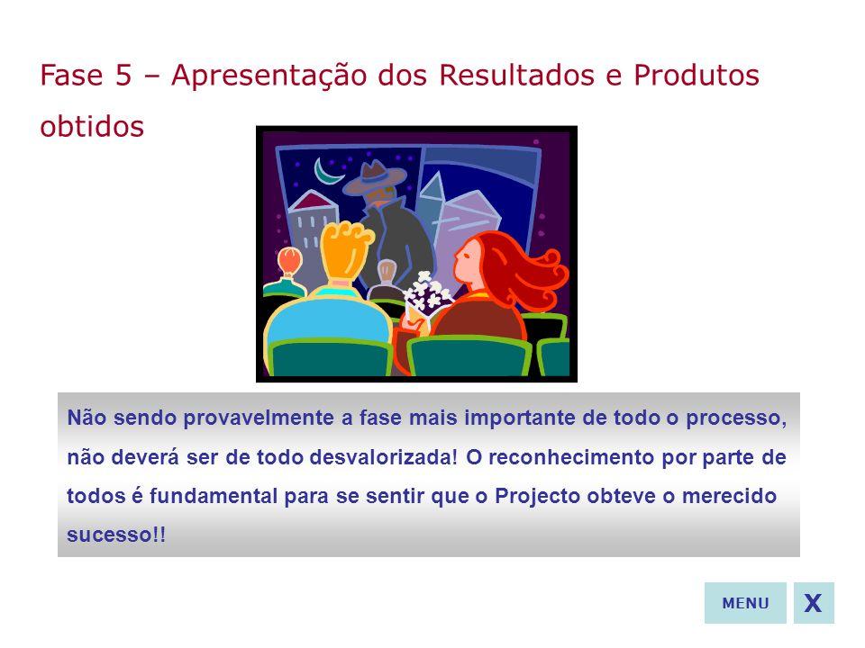 Fase 5 – Apresentação dos Resultados e Produtos obtidos Não sendo provavelmente a fase mais importante de todo o processo, não deverá ser de todo desv