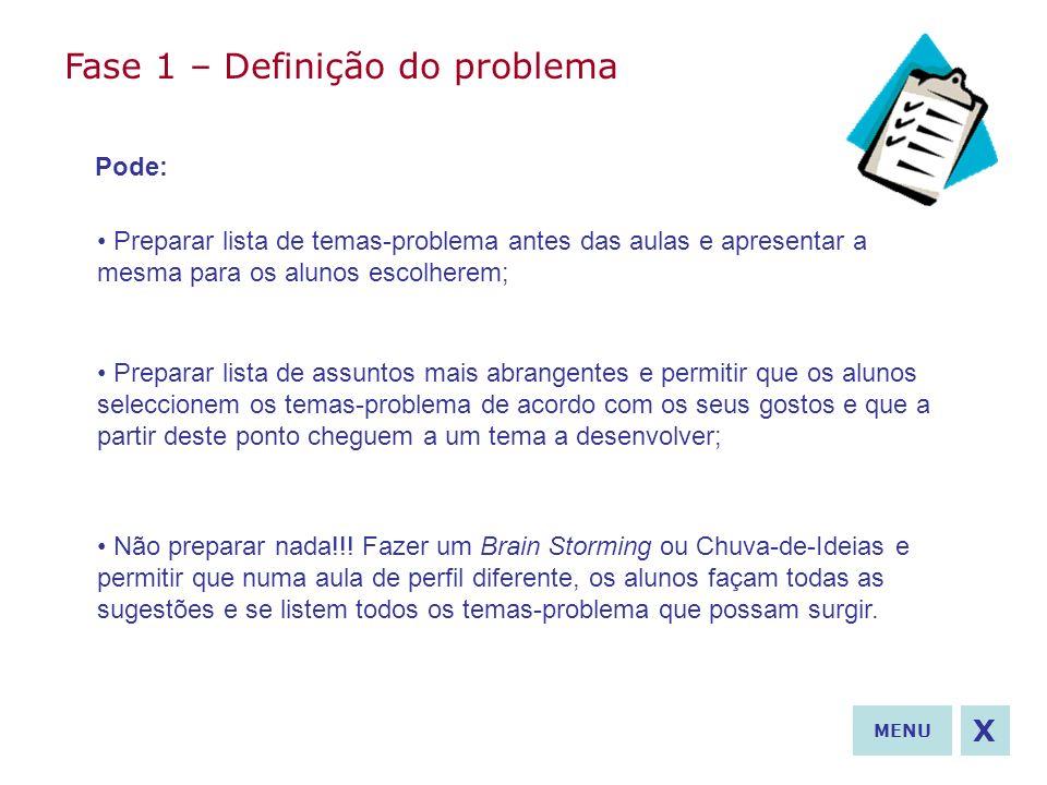 Fase 1 – Definição do problema Pode: Preparar lista de temas-problema antes das aulas e apresentar a mesma para os alunos escolherem; Preparar lista d