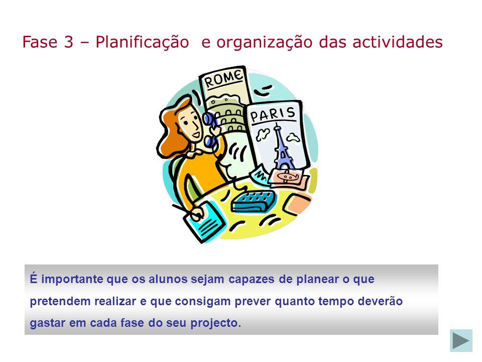 Fase 3 – Planificação e organização das actividades É importante que os alunos sejam capazes de planear o que pretendem realizar e que consigam prever