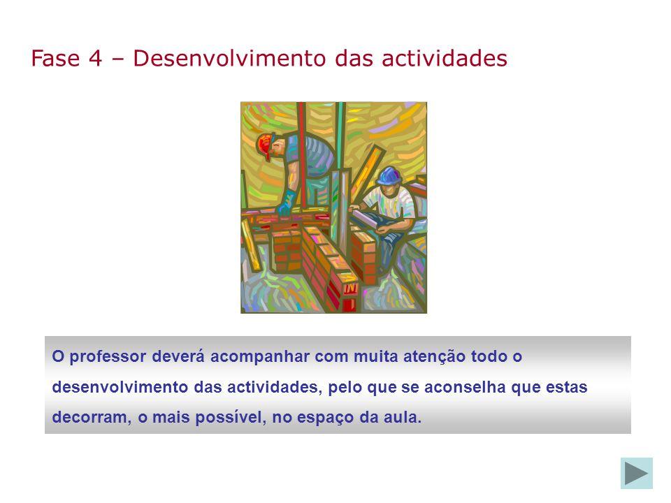 Fase 4 – Desenvolvimento das actividades O professor deverá acompanhar com muita atenção todo o desenvolvimento das actividades, pelo que se aconselha