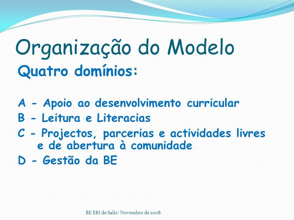 Organização do Modelo Os domínios: Os quatro domínios representam as áreas essenciais para que a BE cumpra a sua missão, os seus objectivos e serão av