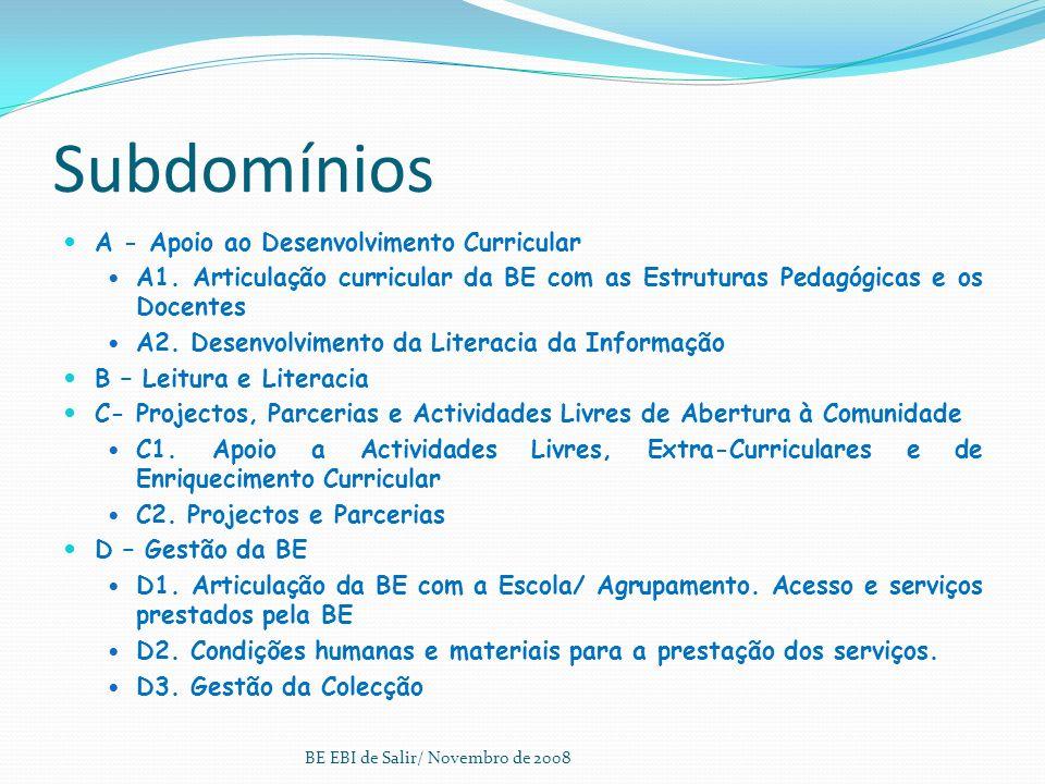 Organização do Modelo Quatro domínios: A - Apoio ao desenvolvimento curricular B - Leitura e Literacias C - Projectos, parcerias e actividades livres
