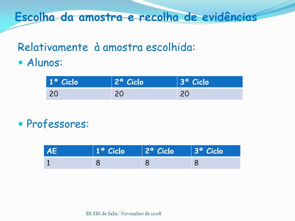 As etapas do processo 1. Estabelecimento do Perfil da BE 2. Selecção do domínio e justificação 3. Divulgação à comunidade 4. Escolha da amostra e reco