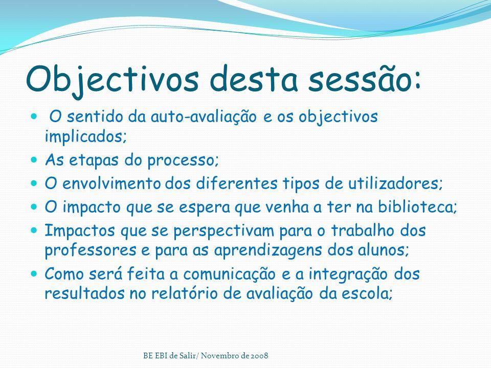 Organização do Modelo Quatro domínios: A - Apoio ao desenvolvimento curricular B - Leitura e Literacias C - Projectos, parcerias e actividades livres e de abertura à comunidade D - Gestão da BE BE EBI de Salir/ Novembro de 2008