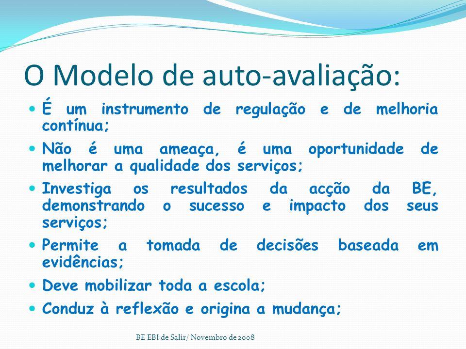 O Modelo de auto-avaliação: É um instrumento de regulação e de melhoria contínua; Não é uma ameaça, é uma oportunidade de melhorar a qualidade dos serviços; Investiga os resultados da acção da BE, demonstrando o sucesso e impacto dos seus serviços; Permite a tomada de decisões baseada em evidências; Deve mobilizar toda a escola; Conduz à reflexão e origina a mudança; BE EBI de Salir/ Novembro de 2008
