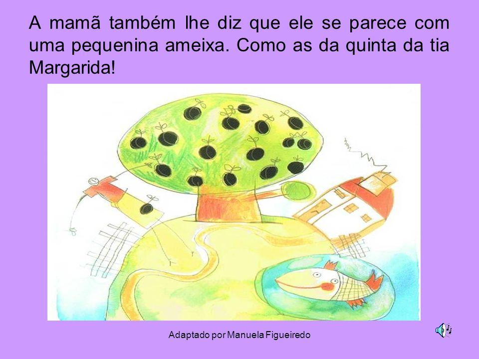 Adaptado por Manuela Figueiredo A mamã também lhe diz que ele se parece com uma pequenina ameixa. Como as da quinta da tia Margarida!
