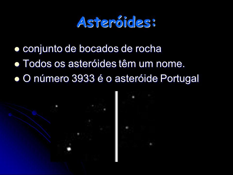 Asteróides: conjunto de bocados de rocha Todos os asteróides têm um nome. O número 3933 é o asteróide Portugal