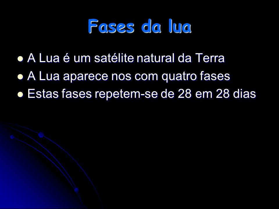 Fases da lua A Lua é um satélite natural da Terra A Lua aparece nos com quatro fases Estas fases repetem-se de 28 em 28 dias
