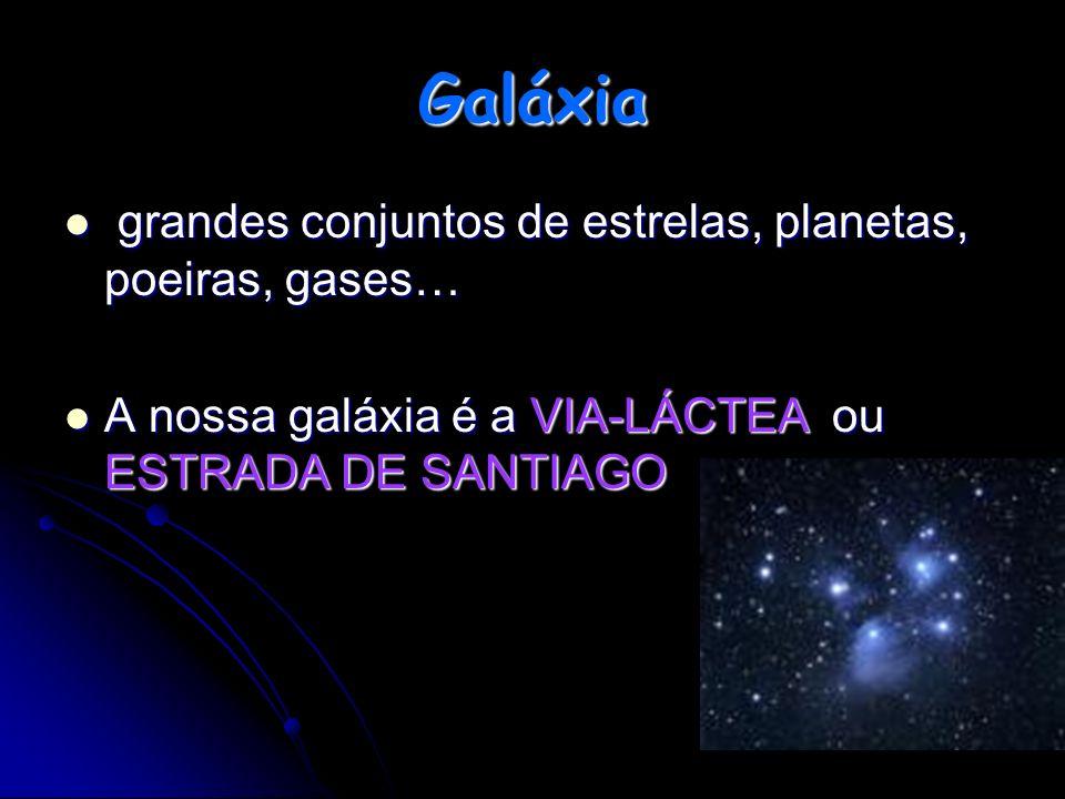 g grandes conjuntos de estrelas, planetas, poeiras, gases… A nossa galáxia é a VIA-LÁCTEA ou ESTRADA DE SANTIAGO Galáxia
