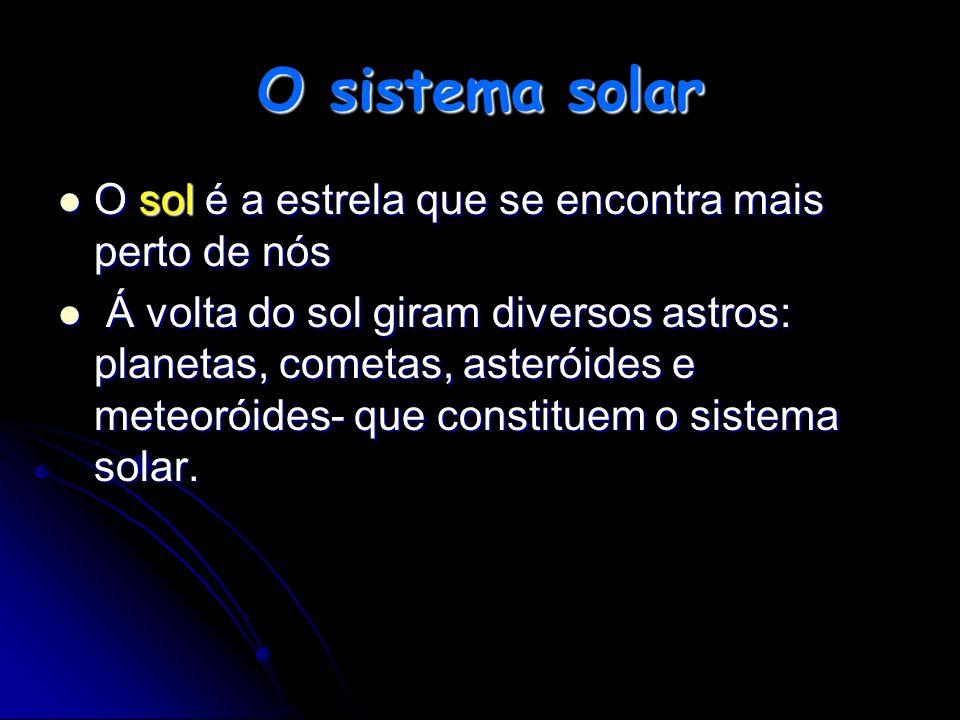 O sistema solar O sol é a estrela que se encontra mais perto de nós Á Á volta do sol giram diversos astros: planetas, cometas, asteróides e meteoróide