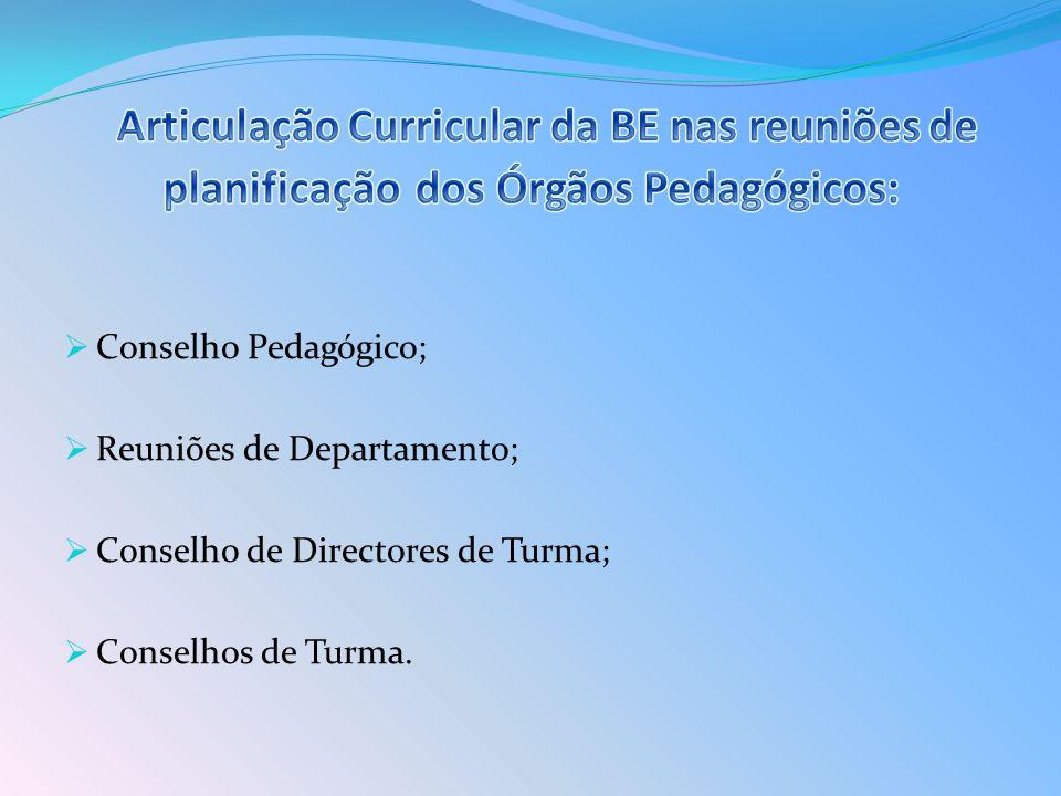 Conselho Pedagógico; Reuniões de Departamento; Conselho de Directores de Turma; Conselhos de Turma.