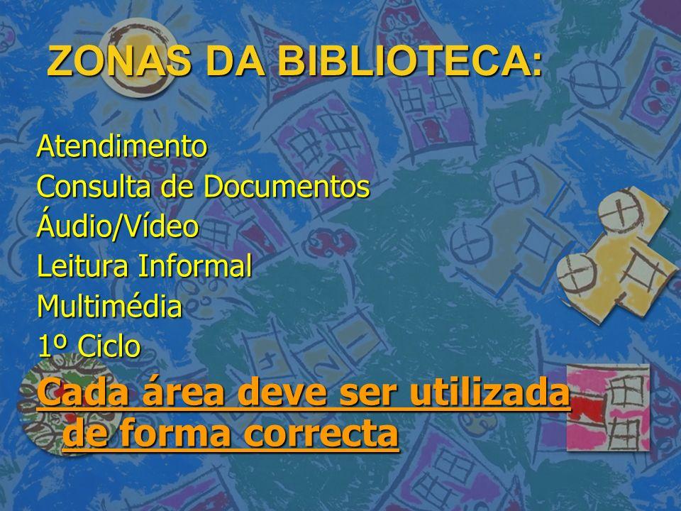 ZONAS DA BIBLIOTECA: Atendimento Consulta de Documentos Áudio/Vídeo Leitura Informal Multimédia 1º Ciclo Cada área deve ser utilizada de forma correct