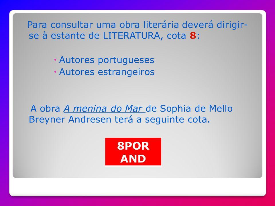 Para consultar um livro sobre o corpo humano deverá procurar na cota 6 Os cinco sentido de Adéle Ciboul surgirá com a seguinte cota 6ANA CIB
