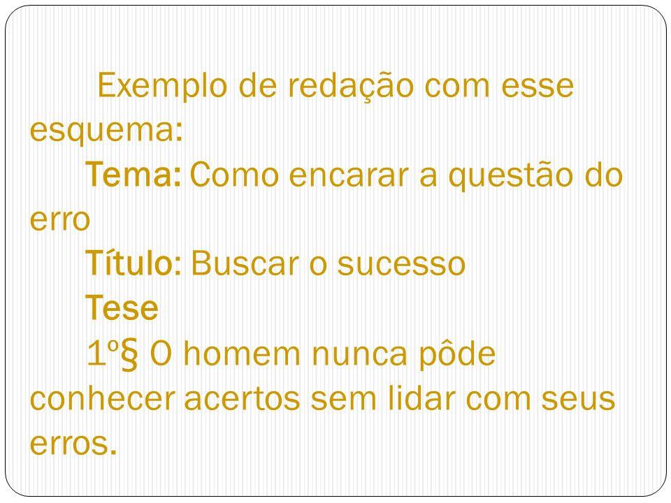 Exemplo de redação com esse esquema: Tema: Como encarar a questão do erro Título: Buscar o sucesso Tese 1º§ O homem nunca pôde conhecer acertos sem li
