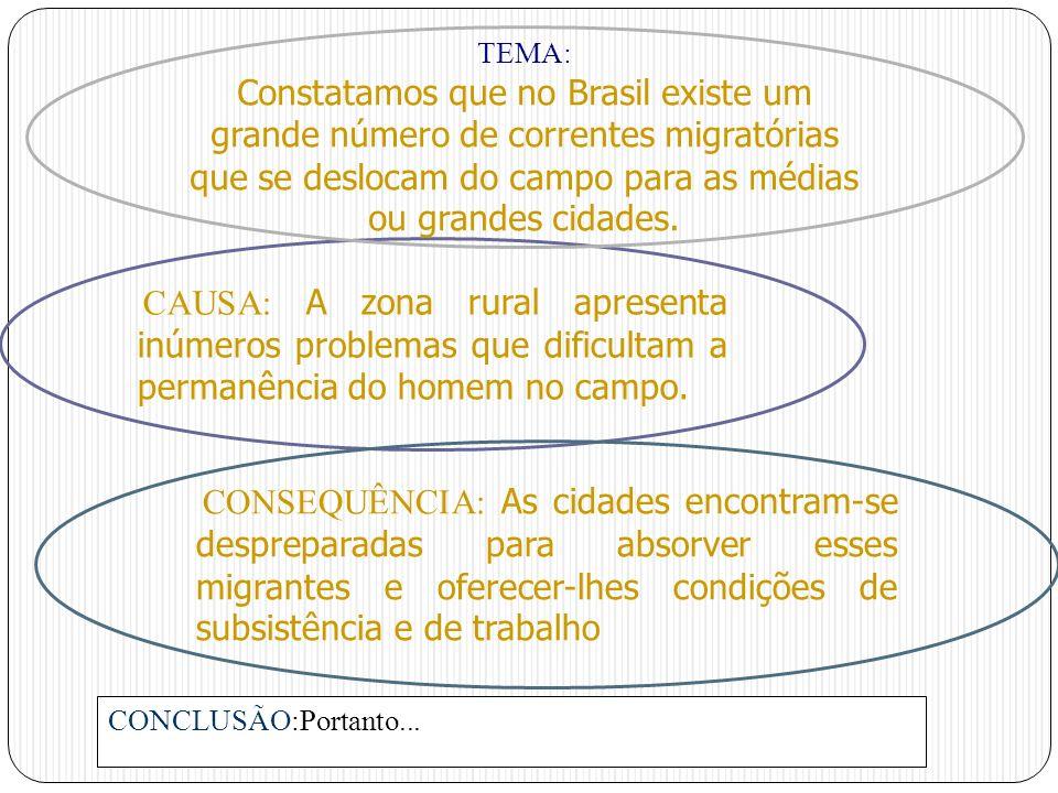 CAUSA: A zona rural apresenta inúmeros problemas que dificultam a permanência do homem no campo. TEMA: Constatamos que no Brasil existe um grande núme