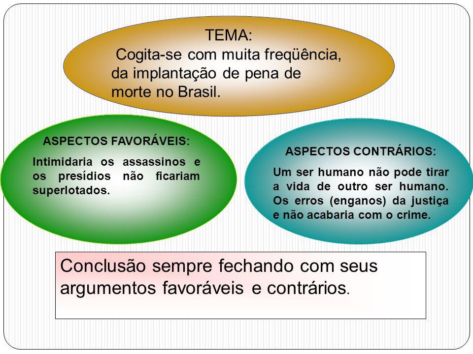 TEMA: Cogita-se com muita freqüência, da implantação de pena de morte no Brasil. ASPECTOS CONTRÁRIOS: Um ser humano não pode tirar a vida de outro ser