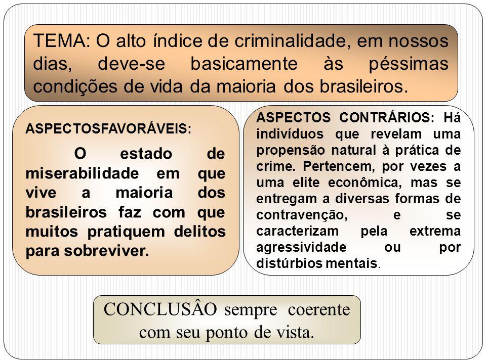 TEMA: O alto índice de criminalidade, em nossos dias, deve-se basicamente às péssimas condições de vida da maioria dos brasileiros. ASPECTOSFAVORÁVEIS