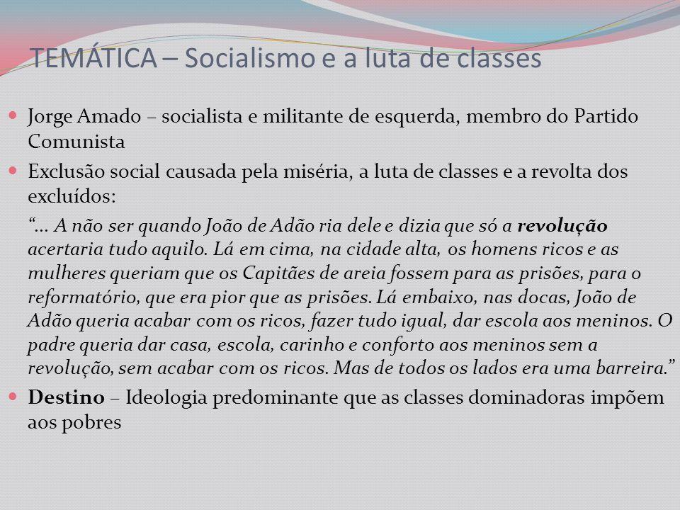 TEMÁTICA – Socialismo e a luta de classes Jorge Amado – socialista e militante de esquerda, membro do Partido Comunista Exclusão social causada pela miséria, a luta de classes e a revolta dos excluídos:...