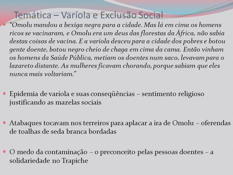Temática – Varíola e Exclusão Social Omolu mandou a bexiga negra para a cidade.