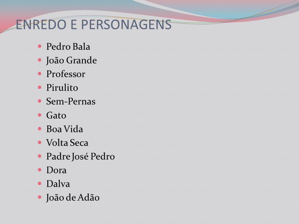 ENREDO E PERSONAGENS Pedro Bala João Grande Professor Pirulito Sem-Pernas Gato Boa Vida Volta Seca Padre José Pedro Dora Dalva João de Adão