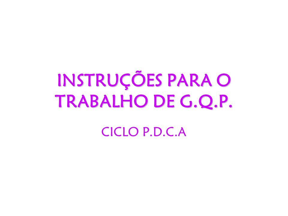 INSTRUÇÕES PARA O TRABALHO DE G.Q.P. CICLO P.D.C.A