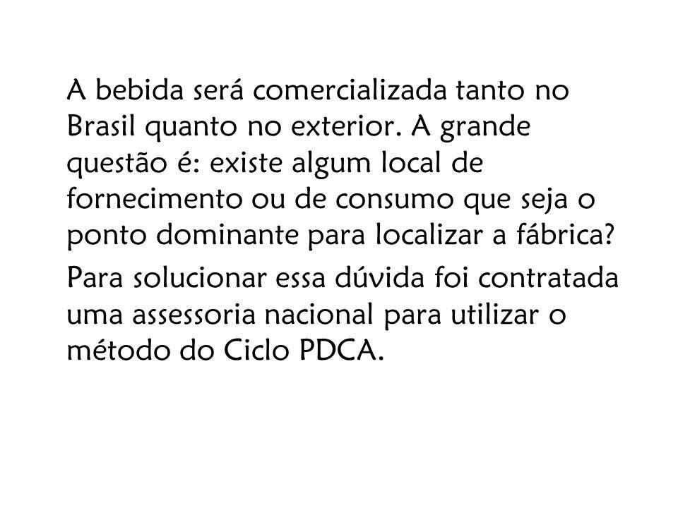 A bebida será comercializada tanto no Brasil quanto no exterior. A grande questão é: existe algum local de fornecimento ou de consumo que seja o ponto