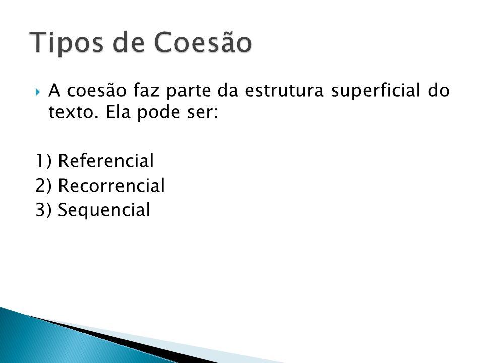 A coesão faz parte da estrutura superficial do texto. Ela pode ser: 1) Referencial 2) Recorrencial 3) Sequencial