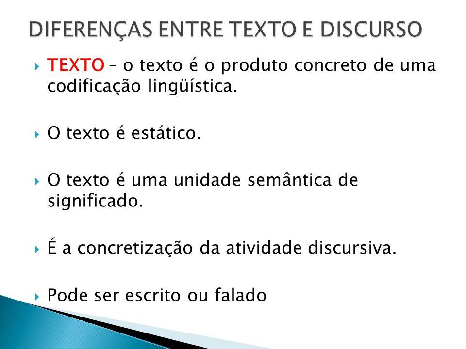 TEXTO – o texto é o produto concreto de uma codificação lingüística. O texto é estático. O texto é uma unidade semântica de significado. É a concretiz