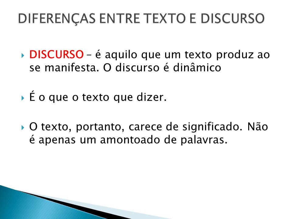 DISCURSO – é aquilo que um texto produz ao se manifesta. O discurso é dinâmico É o que o texto que dizer. O texto, portanto, carece de significado. Nã