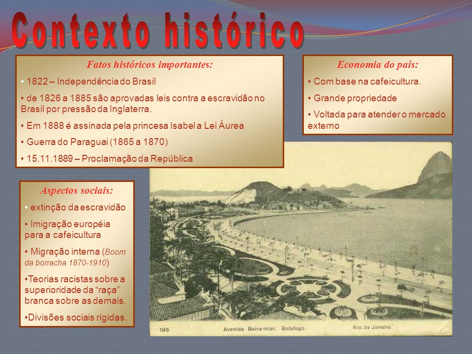 Fatos históricos importantes: 1822 – Independência do Brasil de 1826 a 1885 são aprovadas leis contra a escravidão no Brasil por pressão da Inglaterra