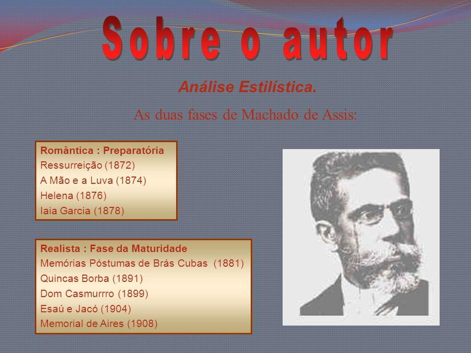 Análise Estilística. As duas fases de Machado de Assis: Romântica : Preparatória Ressurreição (1872) A Mão e a Luva (1874) Helena (1876) Iaia Garcia (