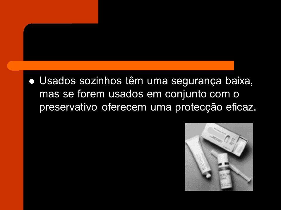 Usados sozinhos têm uma segurança baixa, mas se forem usados em conjunto com o preservativo oferecem uma protecção eficaz.