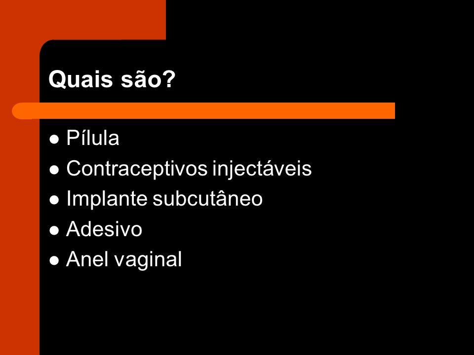 Quais são? Pílula Contraceptivos injectáveis Implante subcutâneo Adesivo Anel vaginal