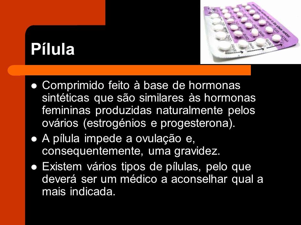 Pílula Comprimido feito à base de hormonas sintéticas que são similares às hormonas femininas produzidas naturalmente pelos ovários (estrogénios e progesterona).