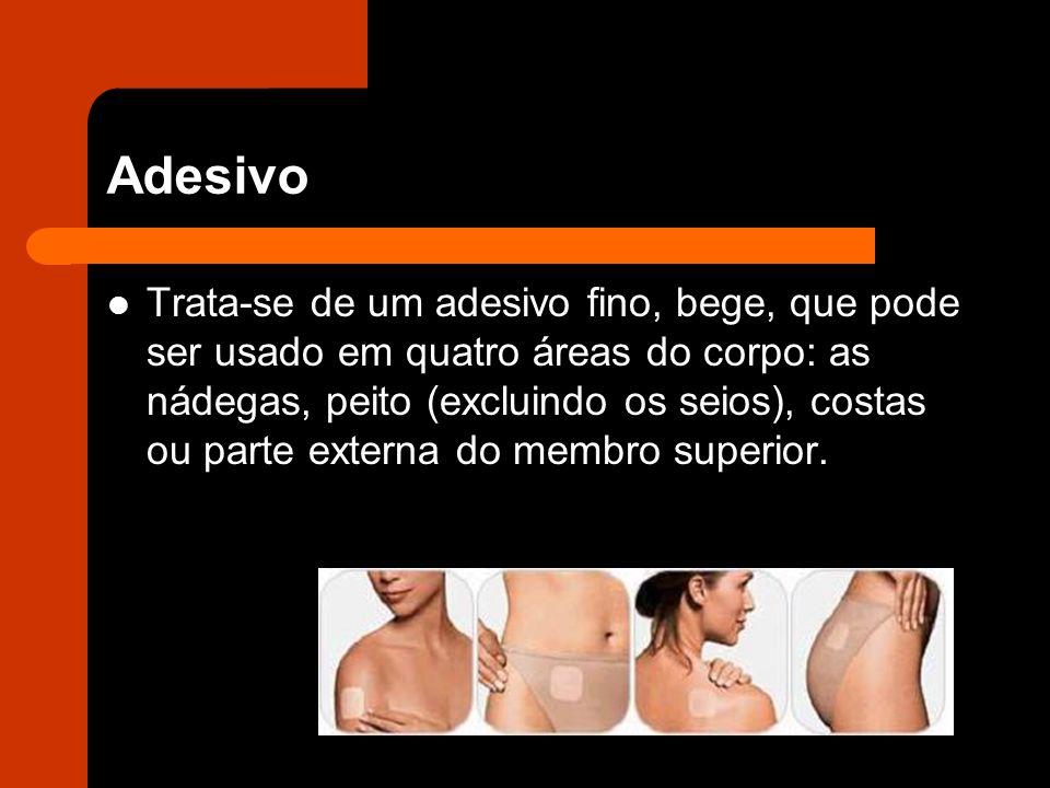 Adesivo Trata-se de um adesivo fino, bege, que pode ser usado em quatro áreas do corpo: as nádegas, peito (excluindo os seios), costas ou parte externa do membro superior.